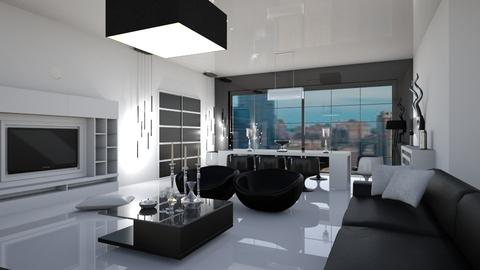 white and black - Living room - by matina1976