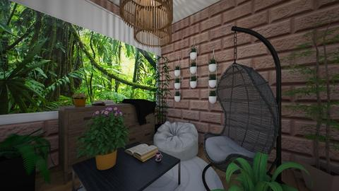 jungle living room - by punbrowansis