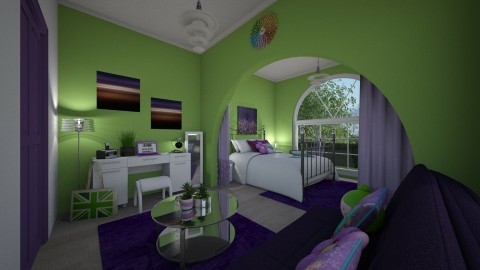 Purple and Green - Bedroom - by June Thomas