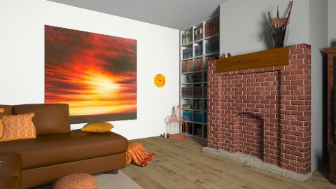 orange accents - Living room - by TheDesignQueen