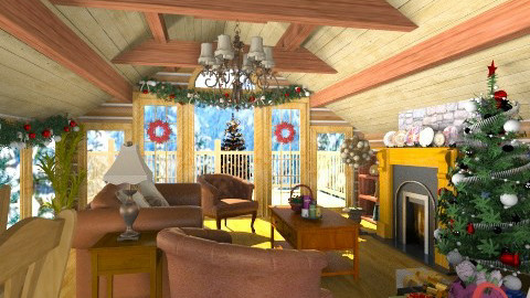Christmas at the Cabin - Rustic - Living room - by Bibiche