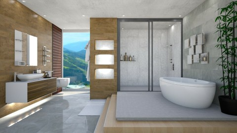 Clean Marble  - Modern - Bathroom - by Mythrintia