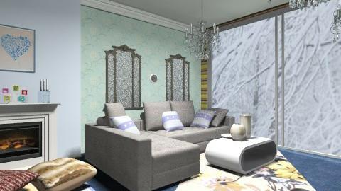 Warm blue living room - Modern - Living room - by moonissa