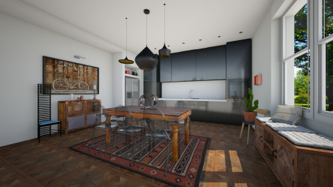 Black kitchen - Dining room - by cath09
