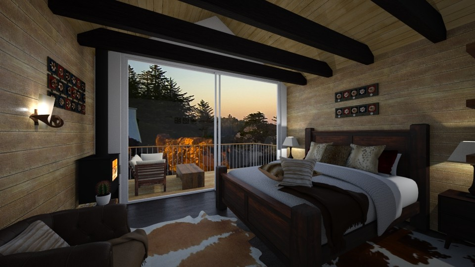 Dark wood bedroom - Rustic - Bedroom - by Nina Colin