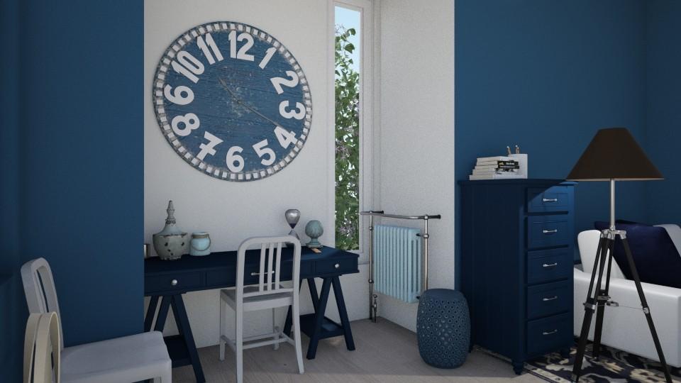 Blue Desk Nook - Office - by PeaceLady13