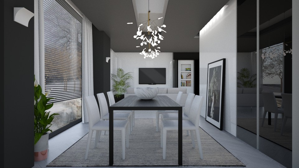 Black_White_Shiny - Minimal - Living room - by Valkhan