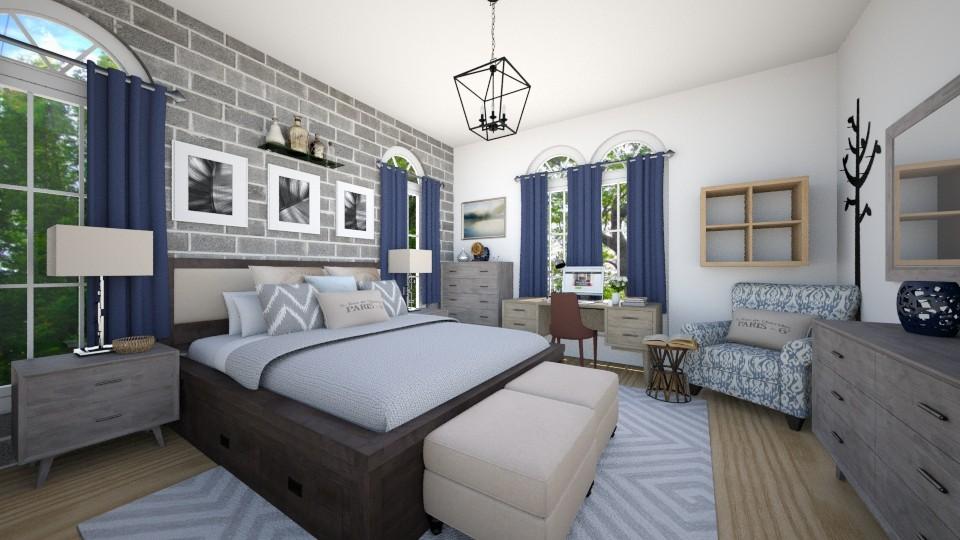Navy Tan - Eclectic - Bedroom - by CreativeCE