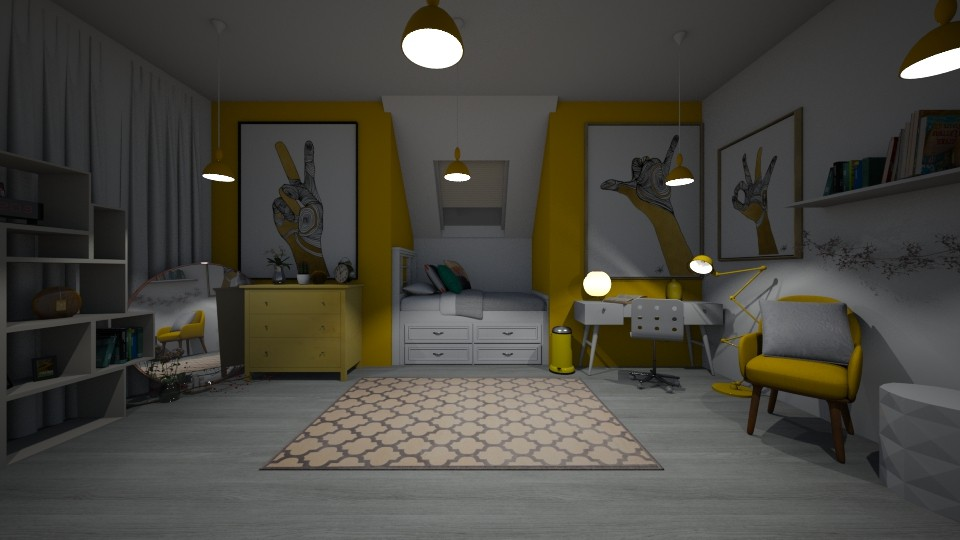 Yellow and White - Modern - Bedroom - by LeilaniD04