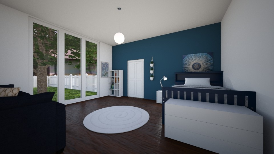 Navy and White Bedroom - Bedroom - by imgoodatusernames