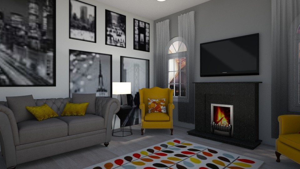Mustard and greys - Living room - by Paris Lidgard