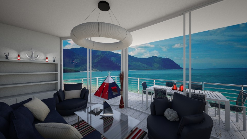 red and blue - Living room - by Zelena_