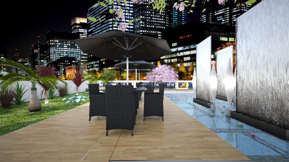 Rooftop Resturant - Garden - by Design By Aafira