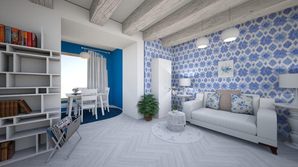 BlueandWhite - Modern - Living room - by TeodoraYord