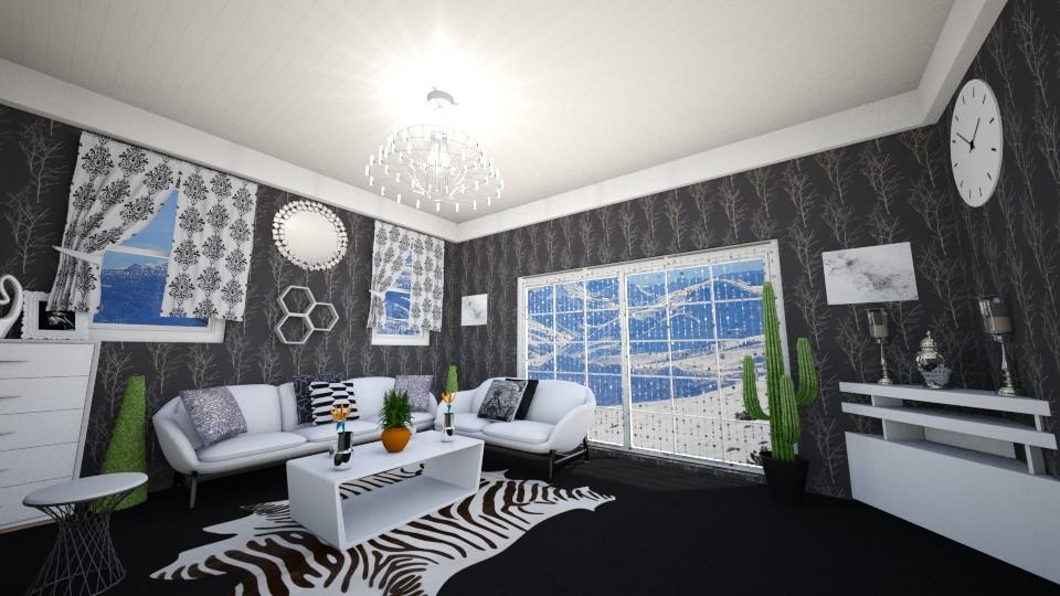 black and white room - Modern - Living room - by zayneb_17