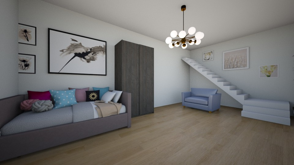 small room with stairs - Glamour - Bedroom - by Zuziq