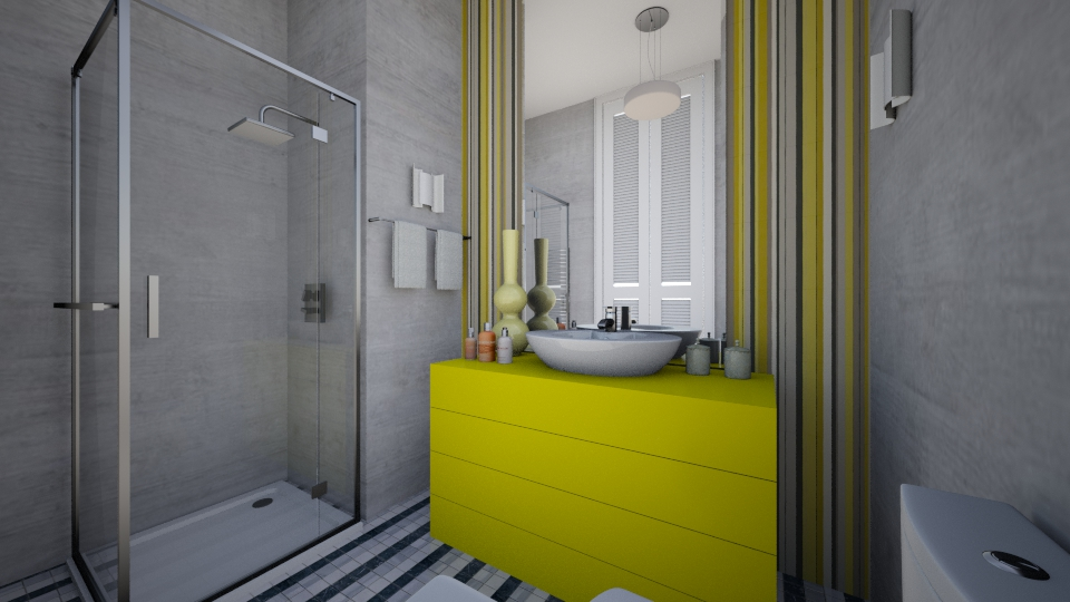 Grey and Yellow - Bathroom - by Oshee