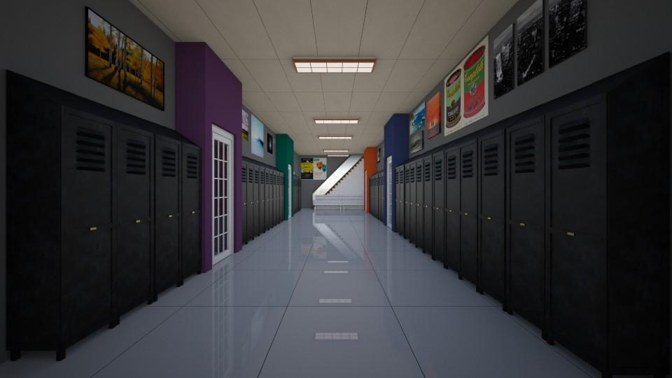 school hallway 1 - by The cartoon fan