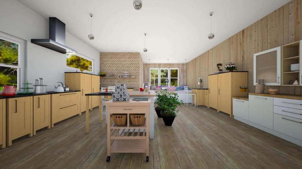 wooden kitchen - Kitchen - by sarasepideh