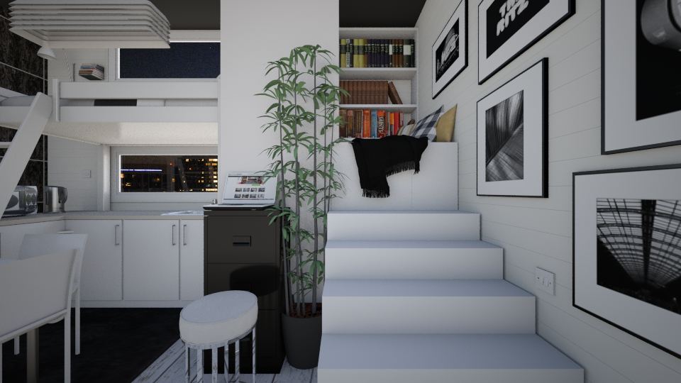 tiny bandw apartment - Living room - by AnnaMull
