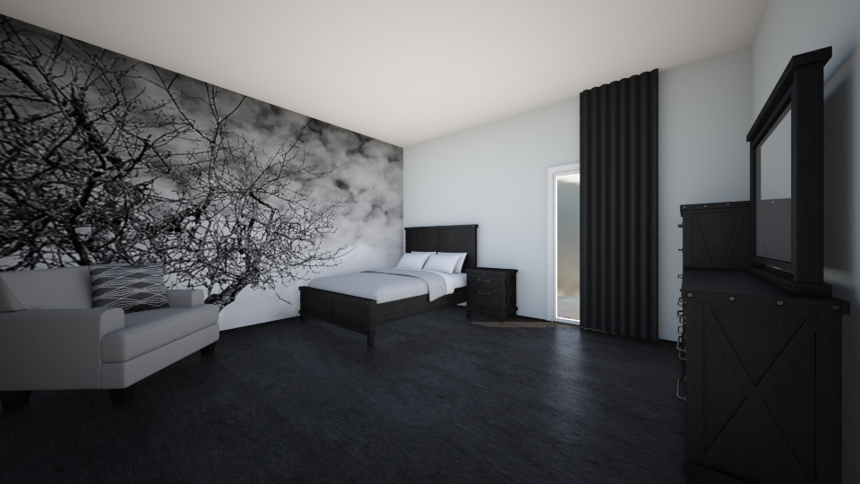 black grey white - Bedroom - by domi328