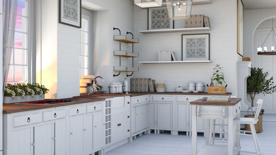 Elegant White - Rustic - Kitchen - by NEVERQUITDESIGNIT