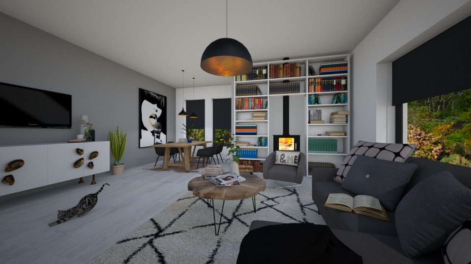 modern white - Living room - by maudberg01