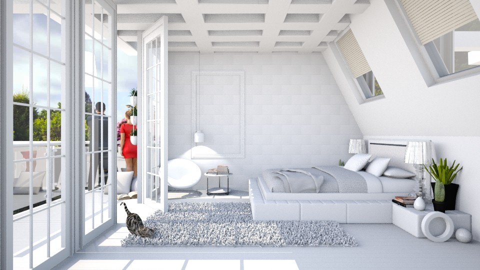 Pure white attic bedroom - Modern - Bedroom - by Catarinatsimoes