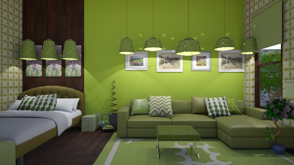 Green Bedroom - Modern - Bedroom - by XiraFizade