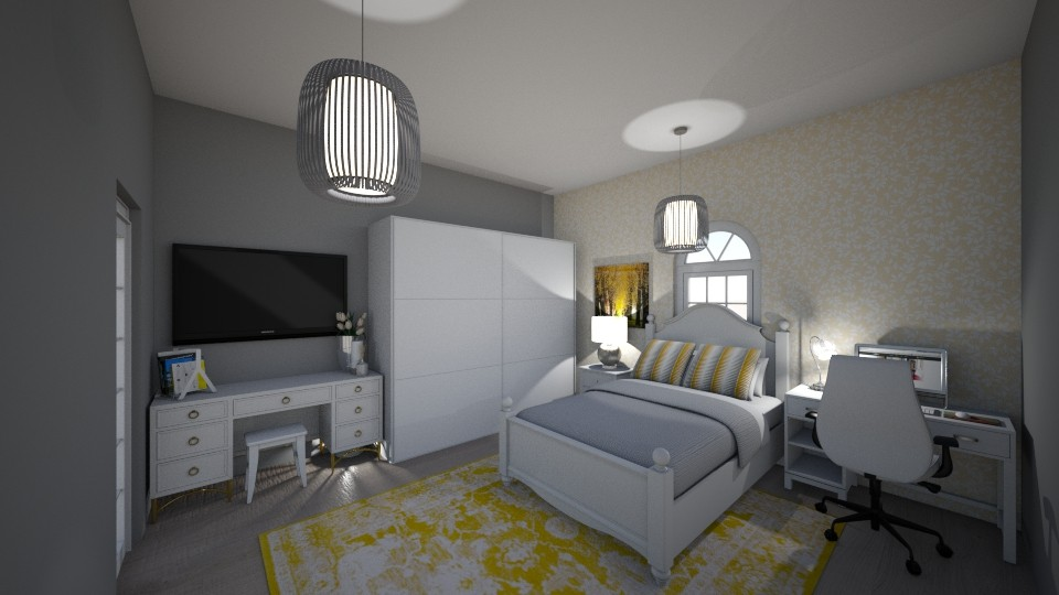 yellow and grey bedroom - by tinyhan