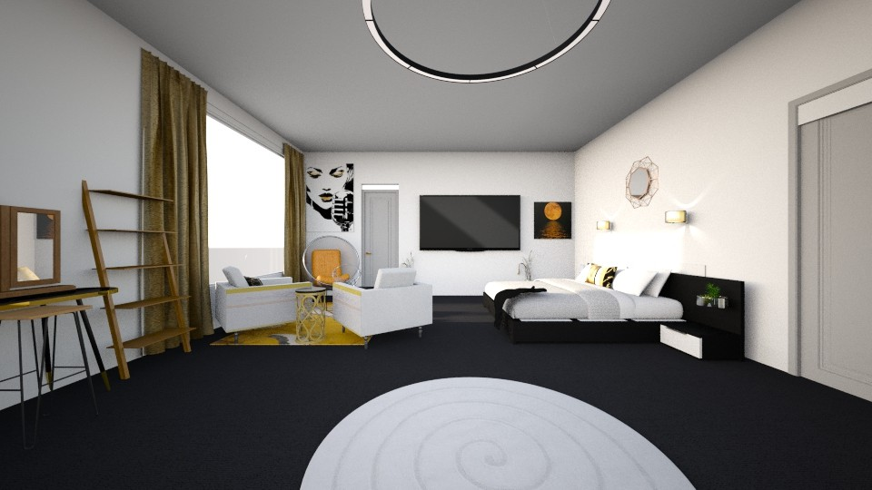 Gold and Black Master  - Modern - Bedroom - by audreyftharp