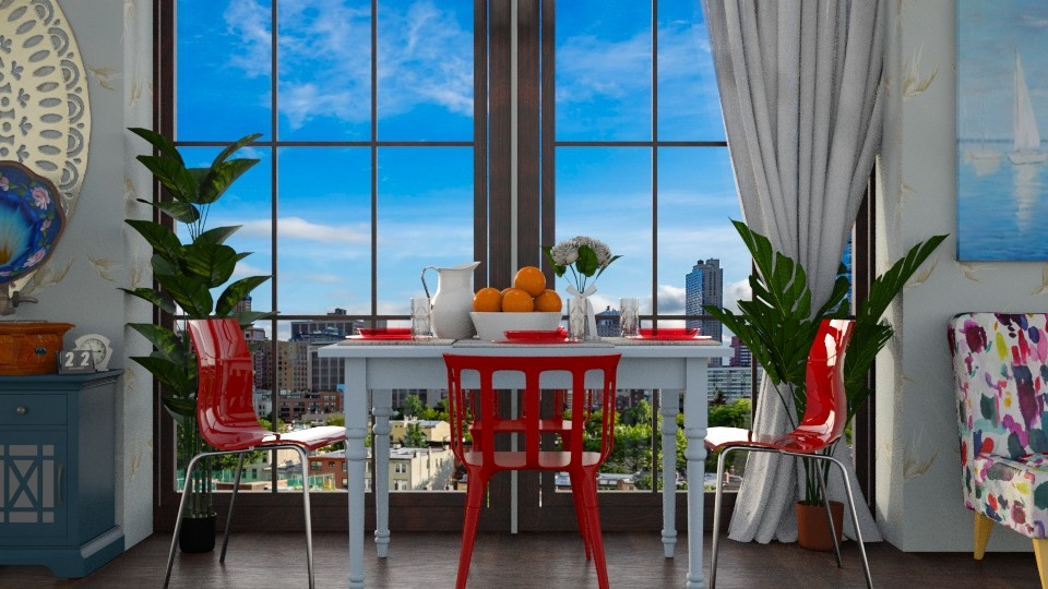 Red Chairs Blue Table - Dining room - by Brianna_322
