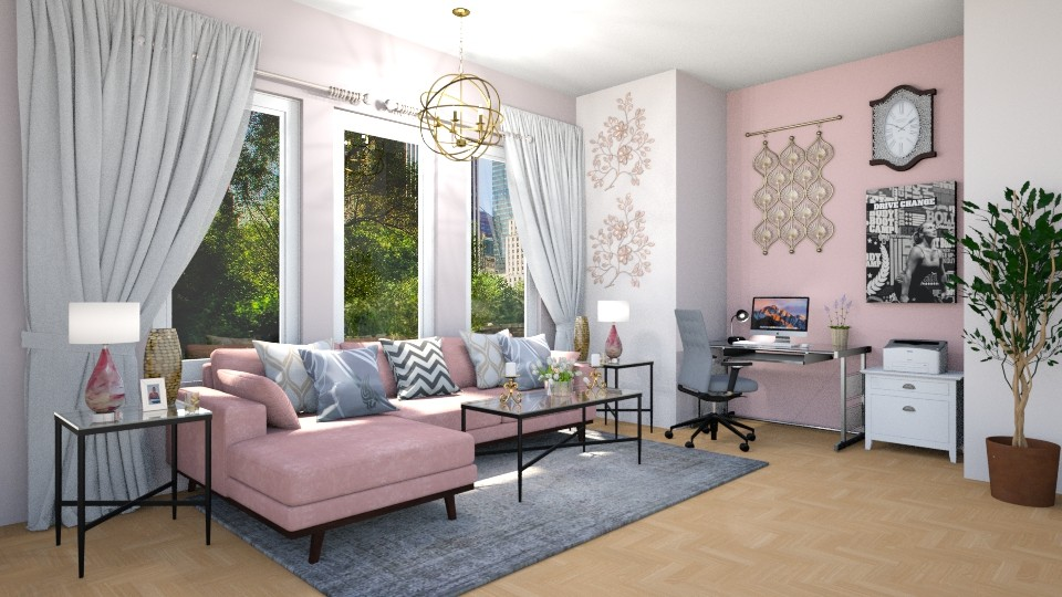 grey and pink  - Living room - by JiaJayy