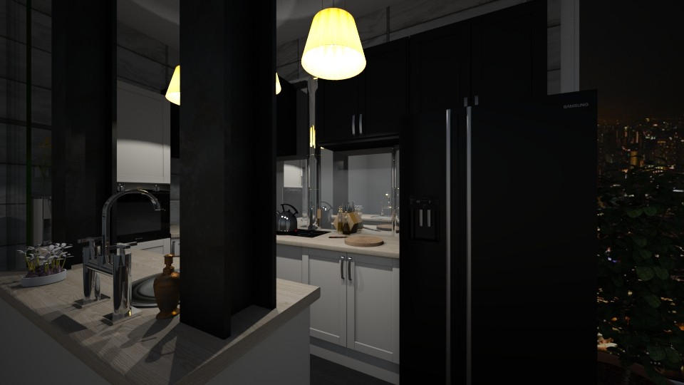 Living room 1  - Kitchen - by Fannia_