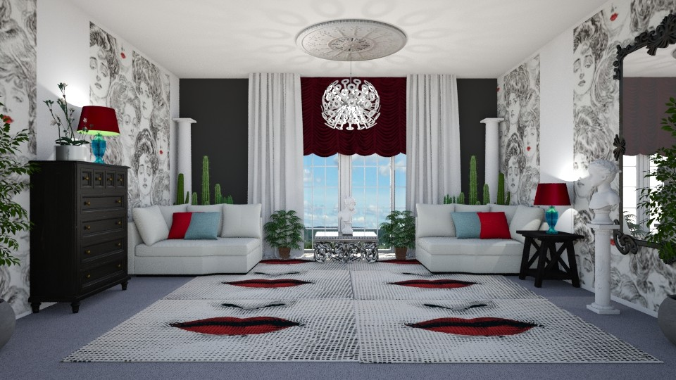 Symmetrically Surreal 2 - Living room - by KarmaKitten